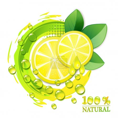 Illustration for Slices yellow lemon with drops and leaf - Royalty Free Image