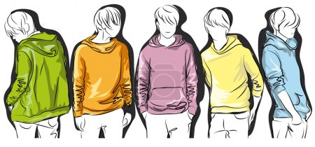 Sketch of young men in colorful jackets