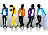 Men in colored clothes