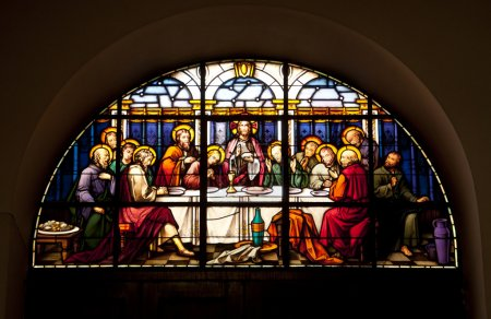 Photo for A stained glass window in Gibraltar showing the last supper. - Royalty Free Image