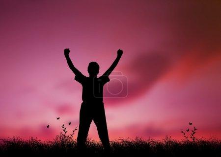 Photo pour Graphique haute résolution d'une silhouette d'homme avec les bras levés dans le culte - image libre de droit