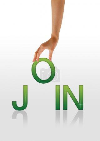 Photo pour Graphique de haute résolution d'une main tenant la lettre o de la jointure de mot - image libre de droit
