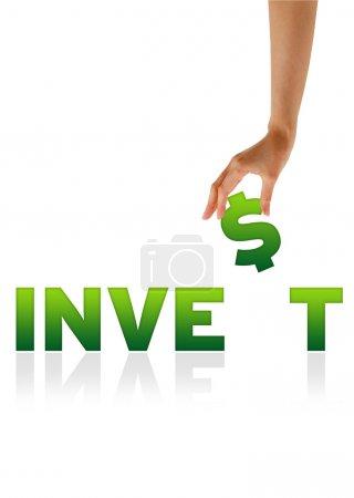 Photo pour Graphique haute résolution d'une main tenant le $du mot investir . - image libre de droit