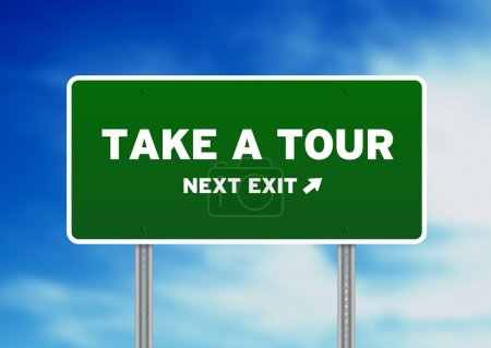 Photo for High resolution graphic of a take a tour highway sign on Cloud Background. - Royalty Free Image