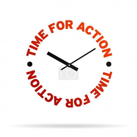 Photo for High resolution clock with the words time for action on white background. - Royalty Free Image