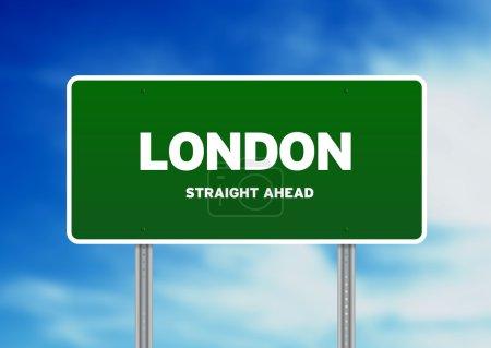 Photo pour Graphique haute résolution d'un panneau vert de l'autoroute de Londres sur fond de nuage . - image libre de droit