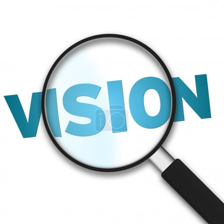 Photo for Magnifying Glass with the word vision on white background - Royalty Free Image