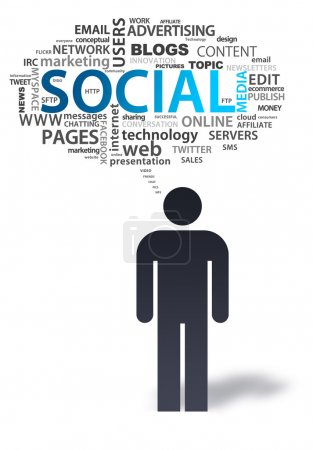Paper Man with social media Bubble