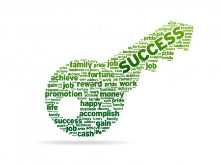 Photo pour Une clé avec le mot succès sur fond blanc . - image libre de droit
