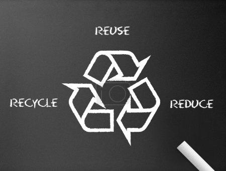 Photo pour Tableau noir avec une illustration de recyclage, réduction, réutilisation . - image libre de droit