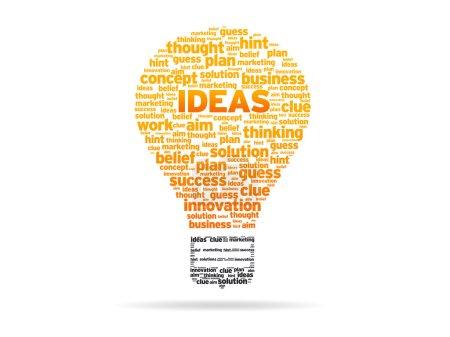 Photo pour Ampoule abstraite avec les idées de mot sur fond blanc. - image libre de droit