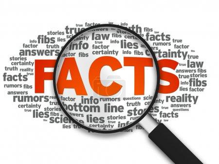 Photo pour Illustration agrandie avec le mot Faits sur fond blanc . - image libre de droit