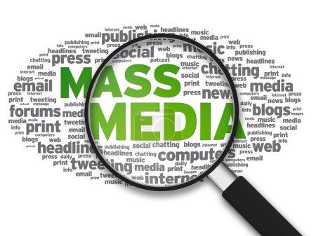 Photo pour Illustration agrandie avec les mots Mass Media sur fond blanc . - image libre de droit