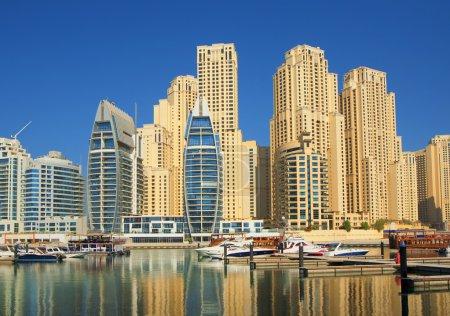 Town scape at summer. Panoramic scene, Dubai.