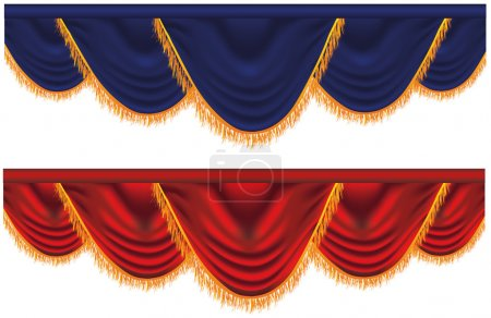 Illustration for Vector blue and red curtains - Royalty Free Image
