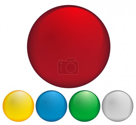Illustration for Set of Blank Glossy Buttons In Different Colors - Royalty Free Image