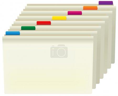Illustration pour Dossiers Manille avec étiquettes de couleur isolées sur blanc - image libre de droit