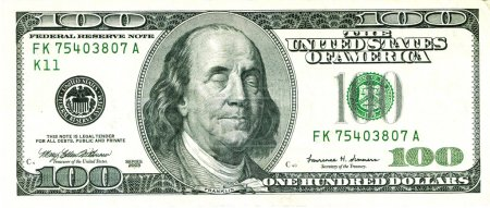 Photo for Closed Eyed Franklin 100 US Dollar Bill Value under Pressure - Royalty Free Image