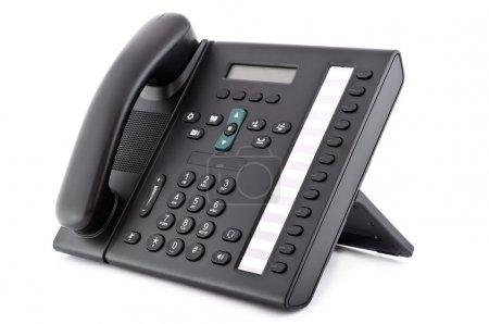 Photo pour Bureau noir IP Téléphone isolé sur fond blanc - image libre de droit