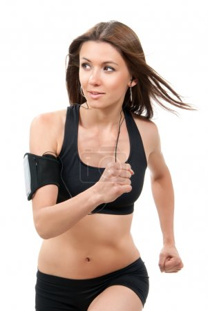 Fitness beautiful slim brunette sport woman jogging and running