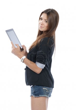 Woman holding new electronic tablet touch pad computer pc