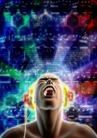 Photo pour Concept d'un homme a emporté avec la musique qu'on écoute - image libre de droit