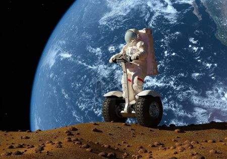 astronaut on the background of the planet.