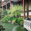 Chinese traditional style garden in rainy day...
