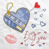 Heart shaped jeans emblem with hand drawn letter hearts and button Vector illustration