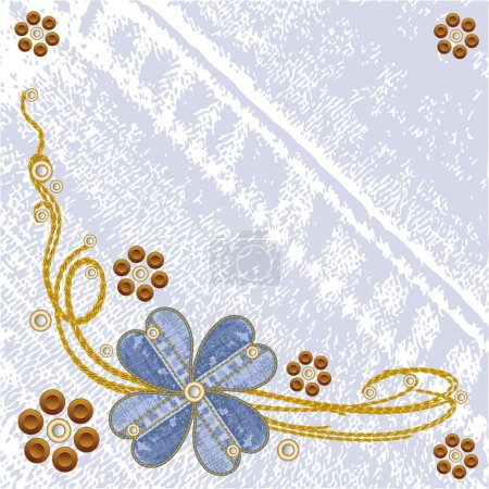 Grungy vector denim floral jeans background.