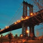 Manhattan bridge viewed from fulton ferry in New Y...