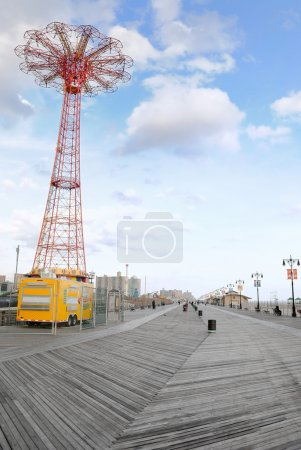 The famous boardwalk at Coney Island in New York, ...