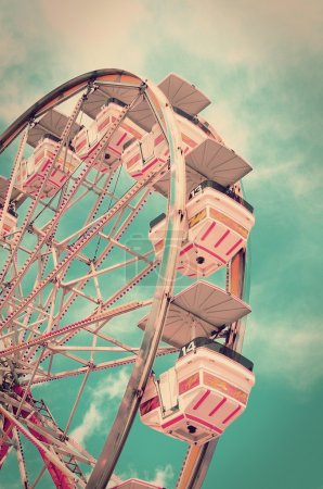 Photo for Vintage ferris wheel with old film look. - Royalty Free Image