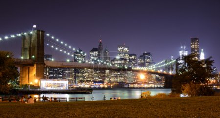 Photo for Brooklyn Bridge and Lower Manhattan skyline in New York City. - Royalty Free Image