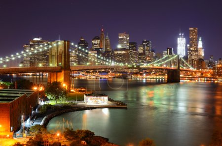 Photo for View of Downtown New York City and Brooklyn Bridge - Royalty Free Image