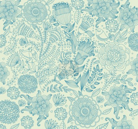 Illustration for Vector classical wall-paper with a flower pattern. - Royalty Free Image