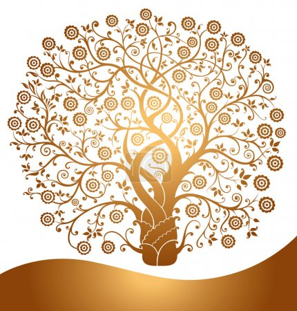 Illustration for Beautiful vector gold tree - Royalty Free Image