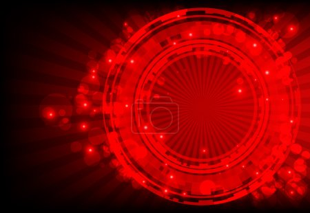 Red abstract background with glowing lights.