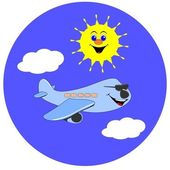 Summer holiday illustration / cartoon jet airliner & sun