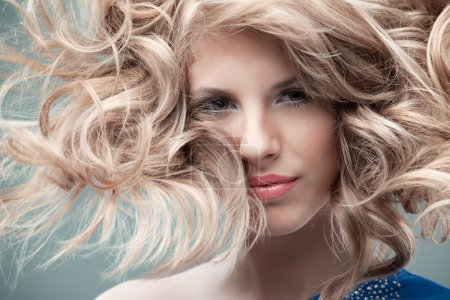 Photo for Portrait curly blonde wind hair - Royalty Free Image