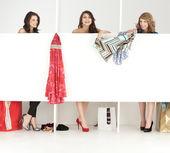 Chicas buscando ropa en wordrobe