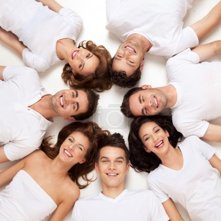 Photo for Group of young smiling in circle - Royalty Free Image
