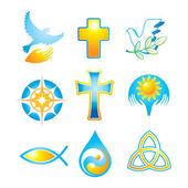 Collection of religious icons symbols