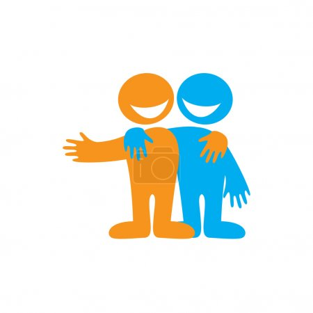 Illustration for Symbol of friendship. Icon Happy friends. Vector sign. - Royalty Free Image