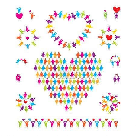 Illustration pour Grand ensemble vectoriel d'icônes - amour - image libre de droit