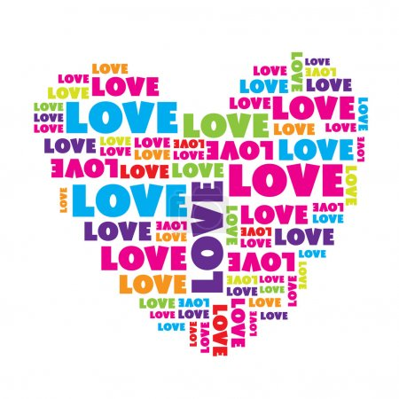 Illustration for Love sign. Нeart made of love words. Vector illustration. - Royalty Free Image