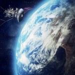 Satellite floating around earth background...