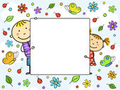 Boy and girl holding a white sheet Children with a frame surrounded by flowers leaves butterflies and ladybirds Vector illustration
