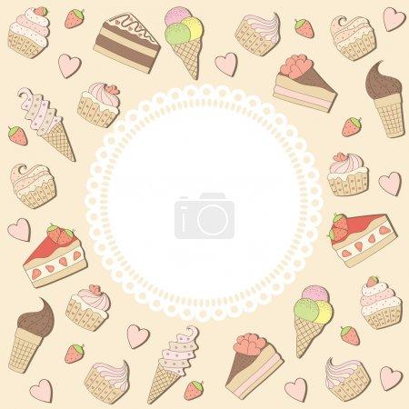 Illustration pour Cadre avec gâteaux et crèmes glacées. Illustration vectorielle . - image libre de droit