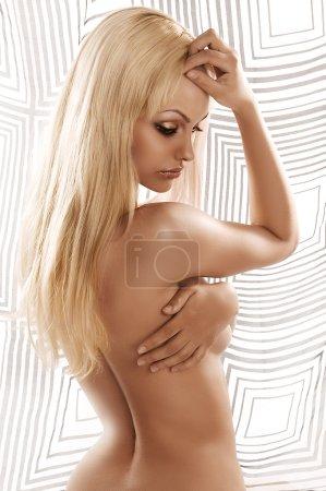 Sensual portrait of a blonde model